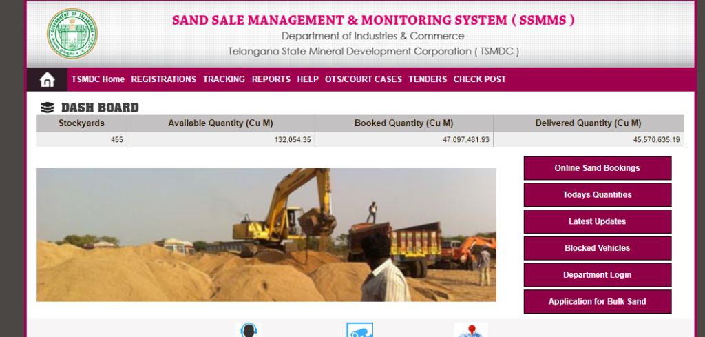 SSMMS Online TS Sand Booking