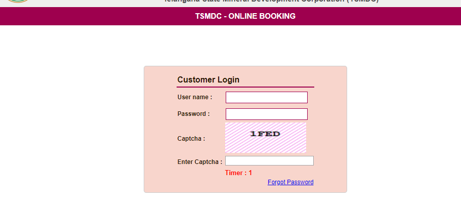 SSMMS Online TS Sand Booking login